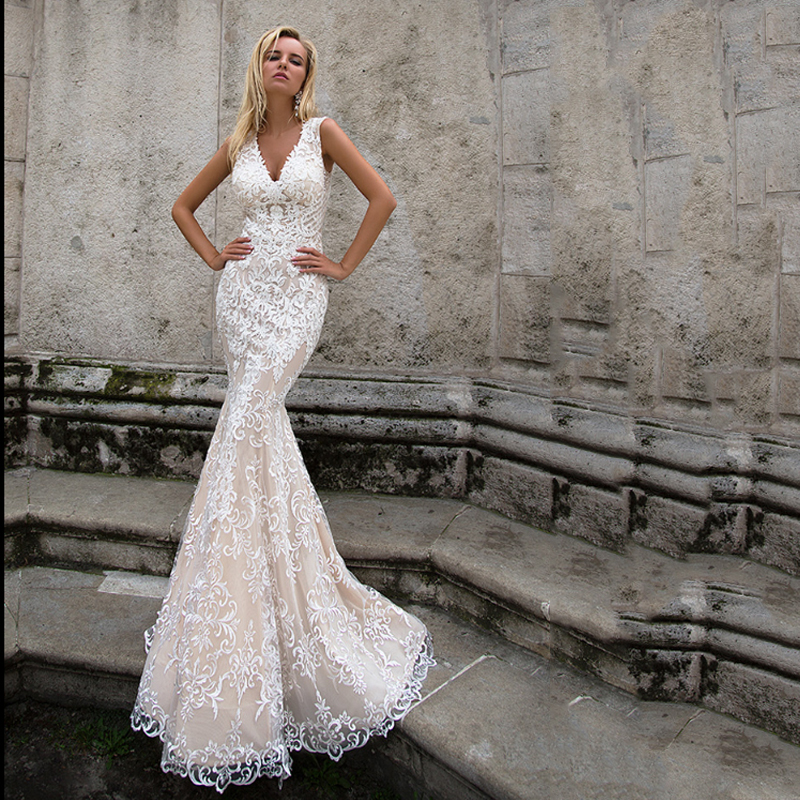 Smileven Mermaid Wedding Dress Boho Lace Bride Dresses V Neck Champagne Elegant Illusion Back Wedding Bridal Gowns 2019