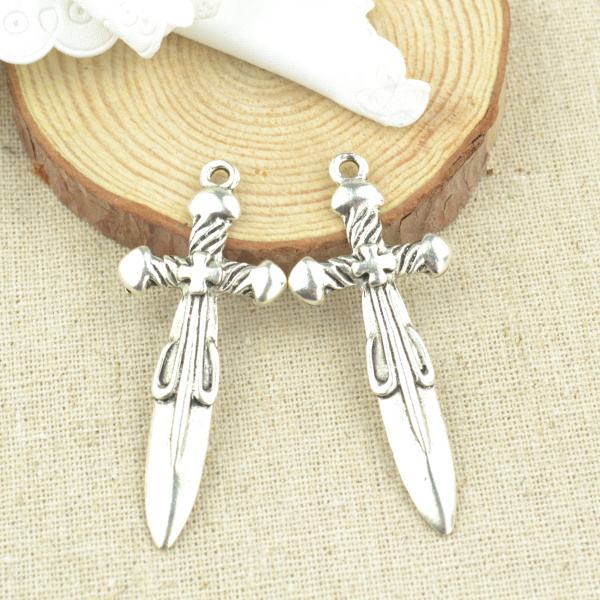 Jewelry Sets & More Steady Hot Sale Free Shipping 20pcs/lot Antique Charms Tibetan Silver Metal Sword Diy Jewelry Pendants For Jewelry Making Z2995 Non-Ironing Charms
