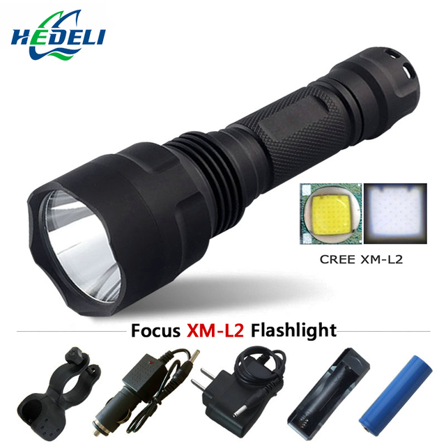 Tactical flashlight cree xml-t6 xml-l2 high brightness led flashlight rechargeable battery 18650 with tactical switch function
