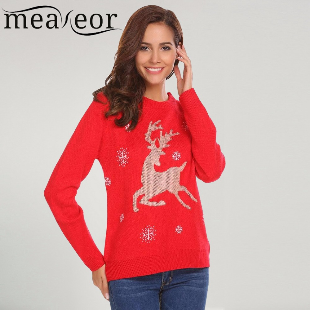 Meaneor Women Winter Christmas Sweaters O-Neck Long Sleeve Christmas Print Casual Pullover Fashion Red 2017 Autumn Warm Sweater