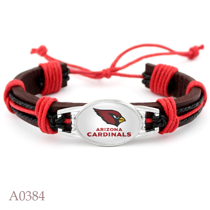10PCS Real Leather Adjustable Bracelet of Arizona Cardinals Football Team Mens Real Leather Bracelet For Fans Gifts