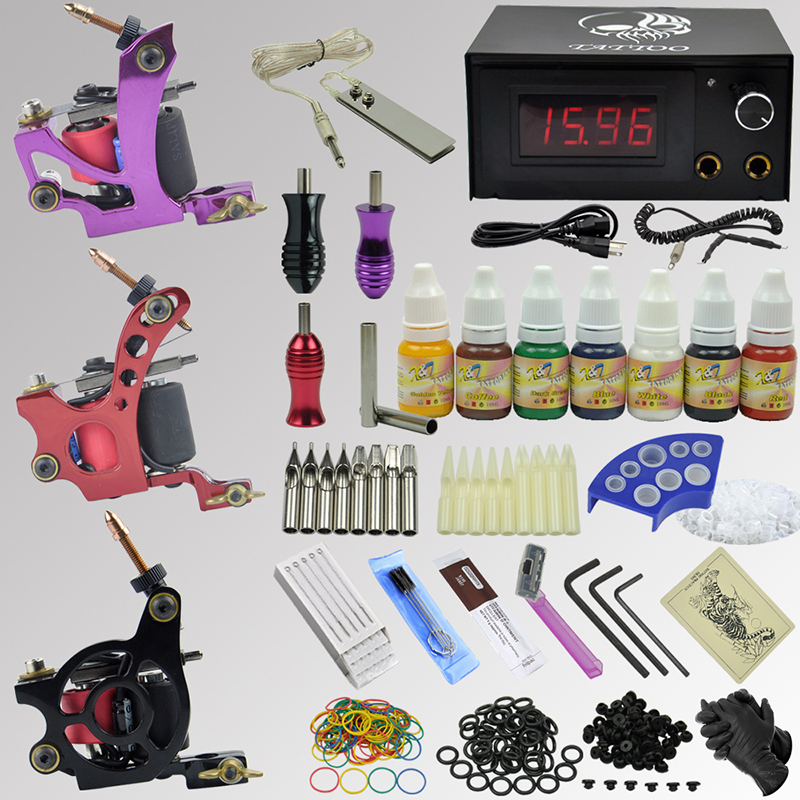 OPHIR 3 Tattoo Machine Guns Pro Complete Tattoo Kit Body Art Equipment with 7Colors Ink Pigment Needle Nozzle Power Supply_TA078 ophir 380pcs pro complete tattoo kit 3 tattoo machines guns 40 colors ink pigment tattoo supply power needles nozzles set ta005