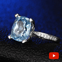 Blue Topaz Radiant 9*11mm S925 Sterling Silver Ring SONA Diamond Halo Fine Ring Unique Style Love Wedding Engagement
