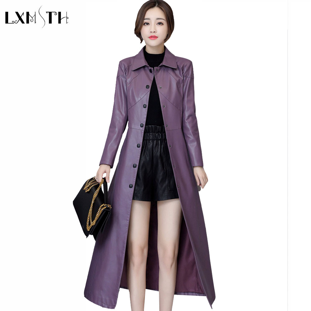 LXMSTH 5XL Plus Size Faux Leather   Trench   Coat Long Women Fall 2019 Single Breasted Ladies Pu   Trench   Coat Female A Line Jaceket