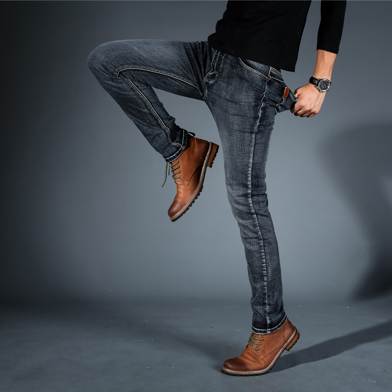 Male Smart Casual Jeans Spring 2018 Fashion New Arrival Perfect Elastic Slim Fit Stretch Full Length Denim Jeans Pants For Men