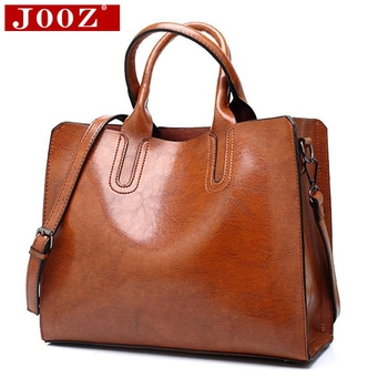 Ladies Oil wax Leather hand bag for Women Famou Brand Trunk Handbags Luxury Designer Femme Casual Tote large Travel Shoulder Bag