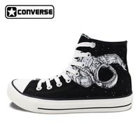 Original Classic Black Converse Shoes Spaceman Astronaut Universe Design Hand Painted Canvas Sneakers High Top Chucks Taylor