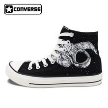 Оригинальный классический черный Converse обувь космонавта астронавт Вселенная Дизайн Ручная роспись холст кроссовки с высоким берцем патроны Taylor