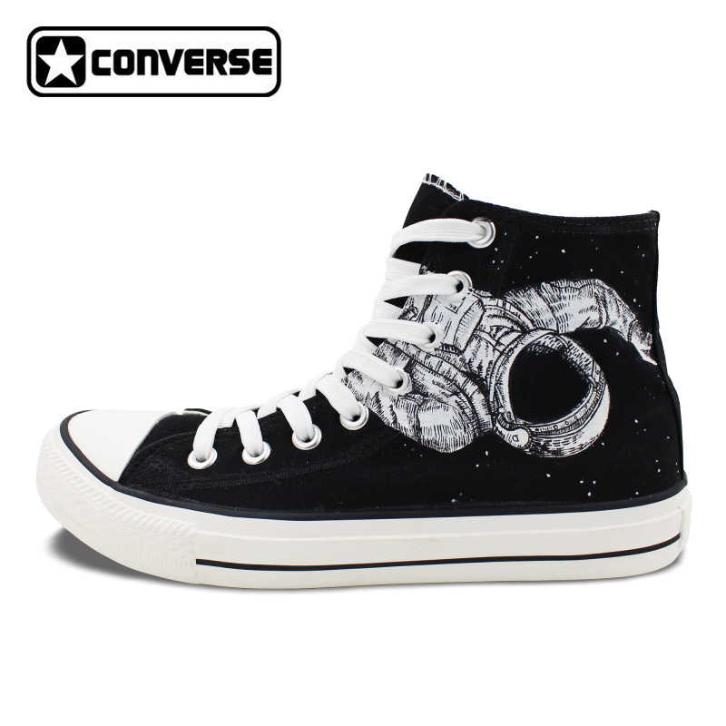 Original Classic Black Converse Shoes Spaceman Astronaut Universe Design Hand Painted Canvas Sneakers High Top Chucks Taylor