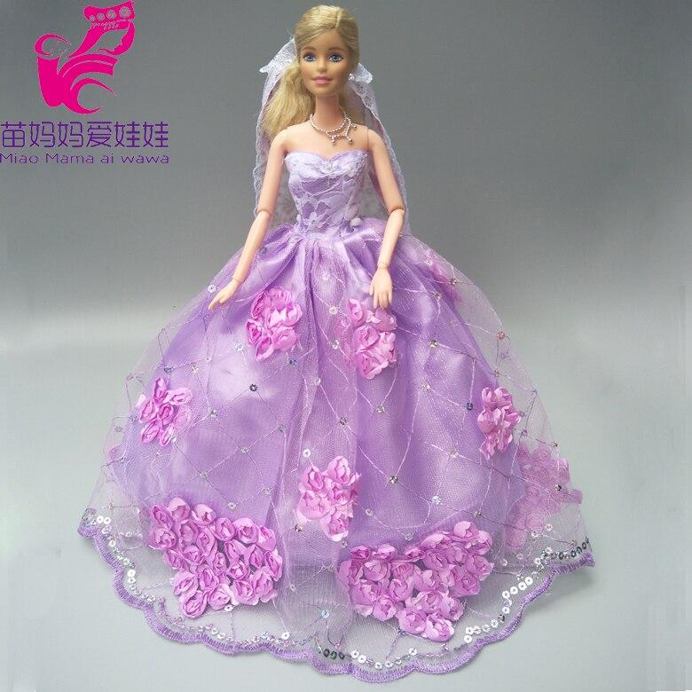 Free shipping delux ungu wedding dress dengan kerudung untuk barbie boneka  gaun pengantin boneka aksesori 0cc669bfc5