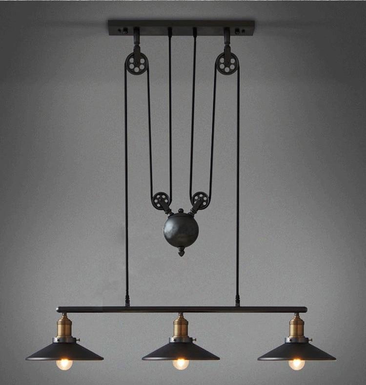 Loft Vintage Pendant Lights Iron Pulley Lamp Kitchen Home Decoration With E27 Edison Bulb Black Painted Pulley Pendant Light
