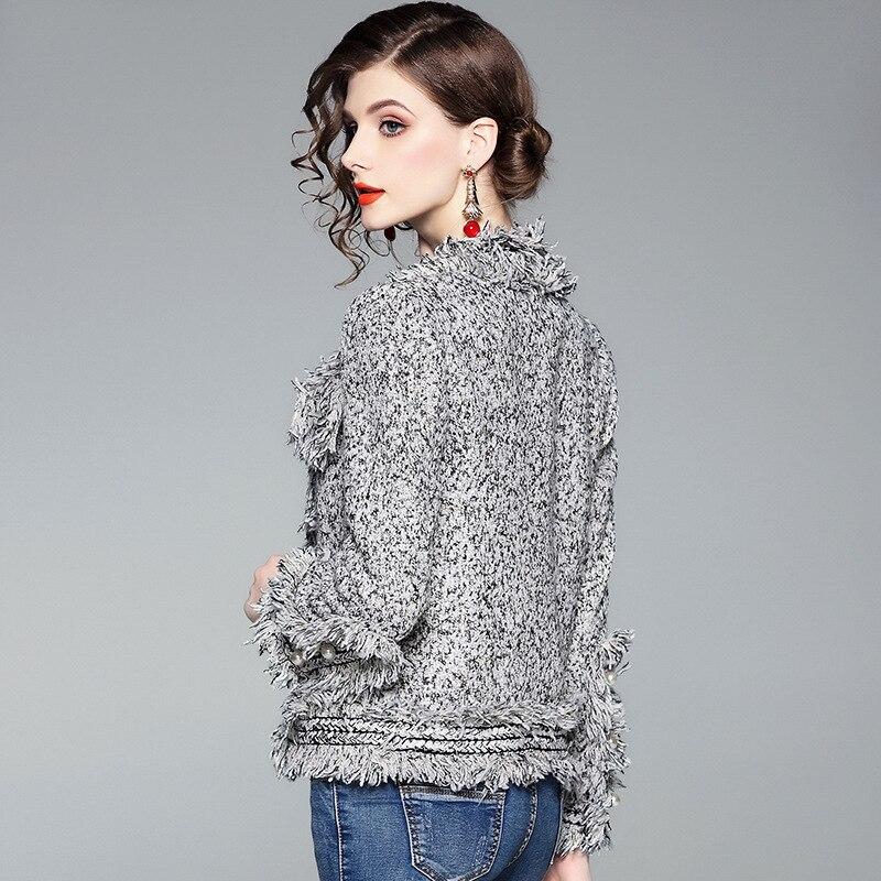 2018 Manteaux Automne Vestes Manteau De Gris Mode Lady Gland Casual Laine Survêtement Hiver Manches Slim Court Bureau Vintage Longues Et 0wrx1n0X