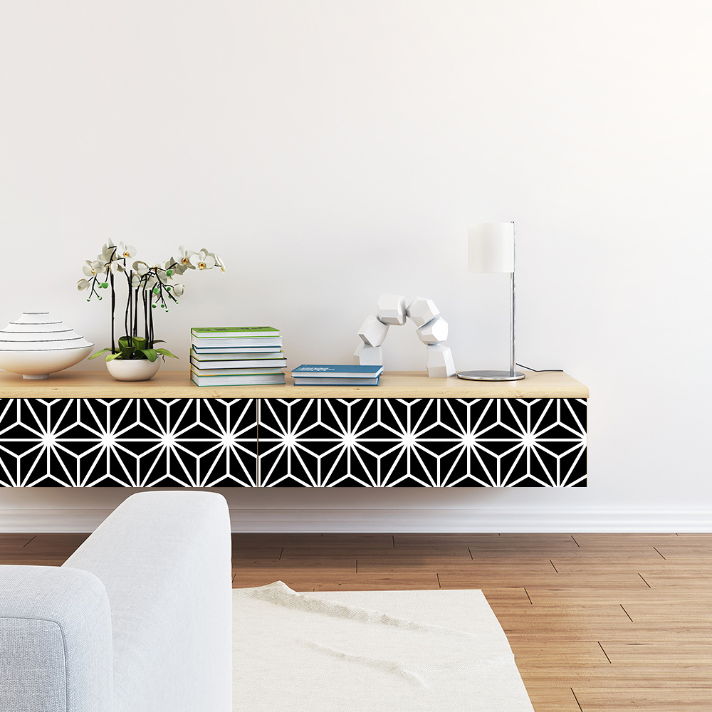 Funlife Black White Geometry Wallpaper,Waterproof Self adhesive Wall Sticker for Living room Office,Art Decal DIY Home Decor