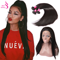 360 Lace Frontal With Bundle With Baby Hair 3Pcs Adjustable Strip Frontal Closure Brazilian Straight 360 Lace Frontal Closure