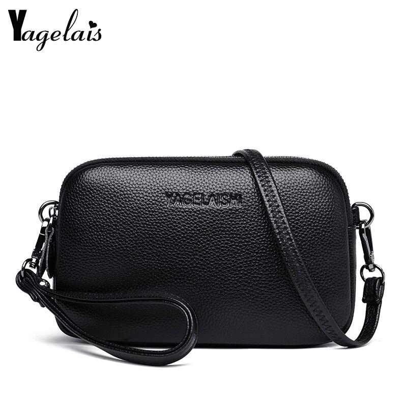 Fashion Women's Bags Genuine Leather Simple Solid Handbag Small Shoulder Bags Female Crossbody Messenge Bags Lady Phone Purses