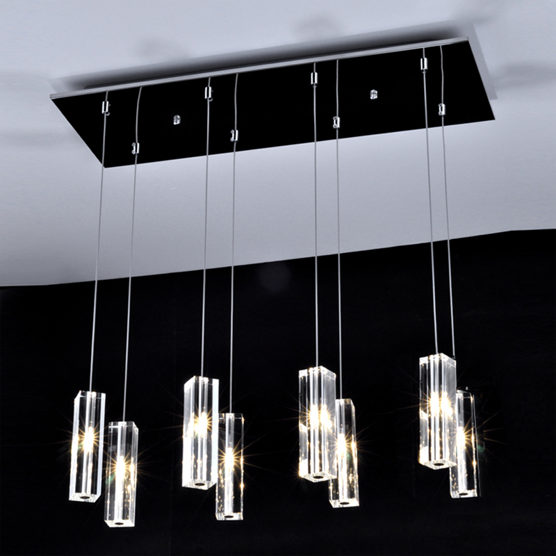 Dining Room Lamp Bar Coffee House Rectangular Led Crystal Pendant Lamp Exhibition Hall Jewelry Store Led Crystal Pendant Lights