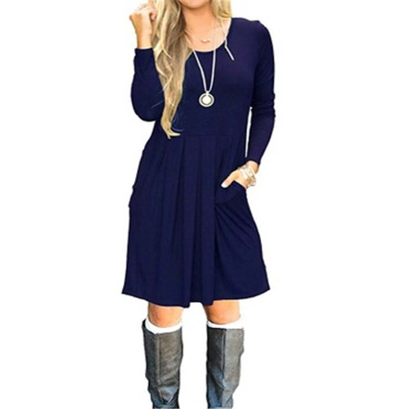 2019 Autumn Aline Dress Women Winter Dress Casual Red Navy Blue Loose Party Dress Women O-neck Long Sleeve Dress Ladies