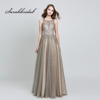 Elegant Evening Dresses Long Mocha Tulle Floor Length Vestidos De Festa Longo O Neck Handmade Embroidery Prom Party Gowns CC560