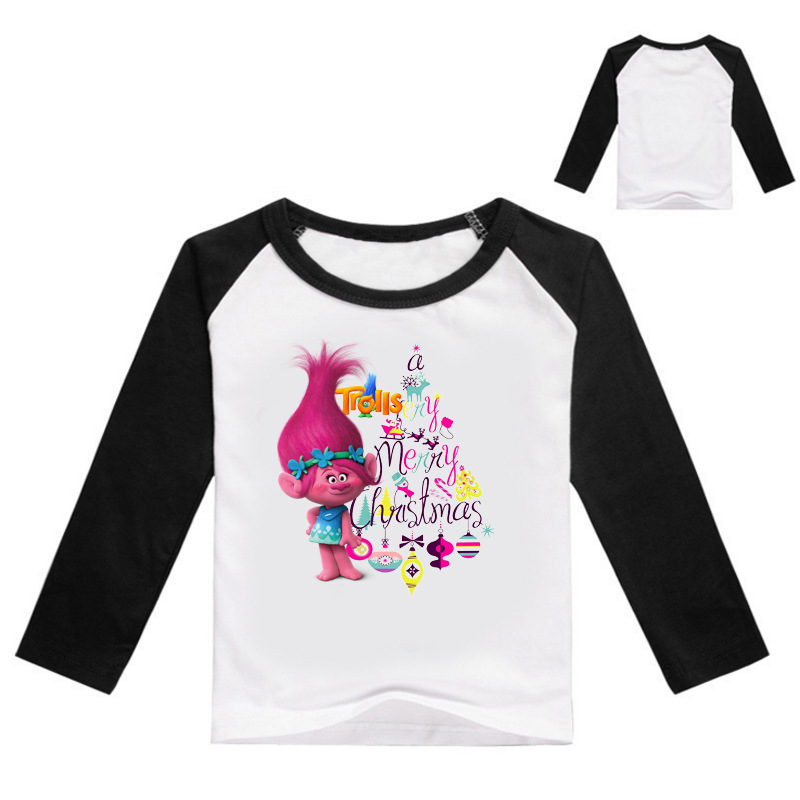 Z&Y 3-16Years Bobo Choses Winter 2017 Autumn Teenage Girl Trolls Poppy Clothes Boys Christmas Shirt Jongen Baby Girl Tops M443