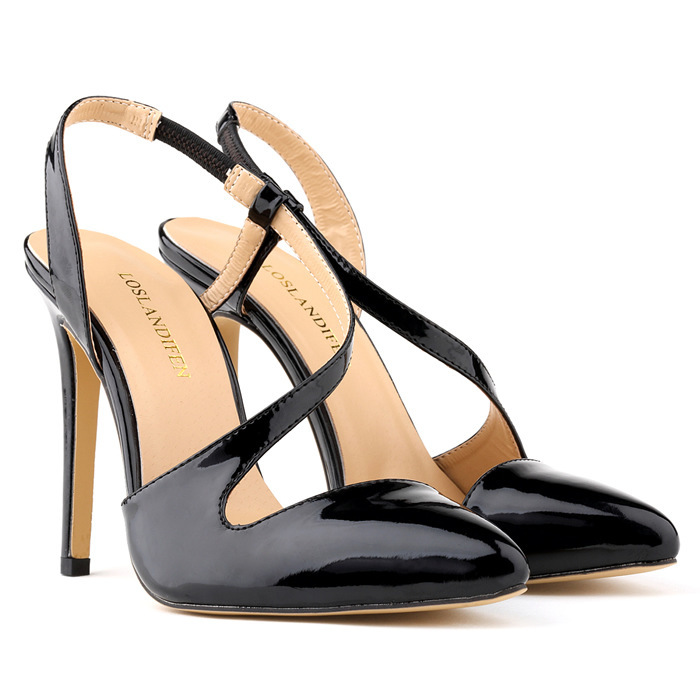 ФОТО 2015 Fashion High Heel Summer Women Sandals Ankle Strap Elastic Band Plain Solid Soft Leather Casual Thin Heels Sandals