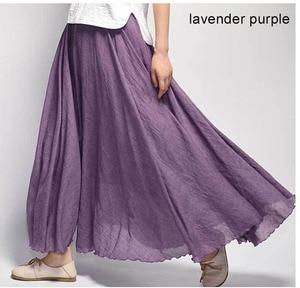 Image 5 - נשים של אלגנטי גבוהה מותן פשתן מקסי חצאית 2020 קיץ גבירותיי מקרית אלסטי מותניים 2 שכבות חצאיות saia feminina 20 צבעים SK53