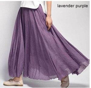 Image 5 - Womens Elegant High Waist Linen Maxi Skirt 2020 Summer Ladies Casual Elastic Waist 2 Layers Skirts saia feminina 20 Colors SK53