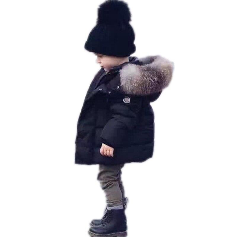 Зимнее пальто для мальчиков 2018 мальчиков зимние куртки одноцветное воротник большой волос с капюшоном зимняя куртка для мальчиков теплая х...