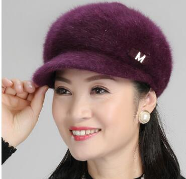 2018 Frans Brandi S Free shipping, winter fashion ladies hat with cashmere rabbit hair hat winter warm fabric peaked cap letter