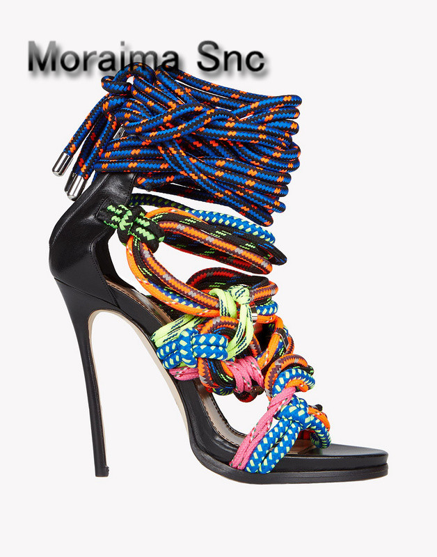 Moraima Snc Sexy Luxury women sandals lace up booties multi color rope shoes gladiator sandals back zip thin high heels sandals