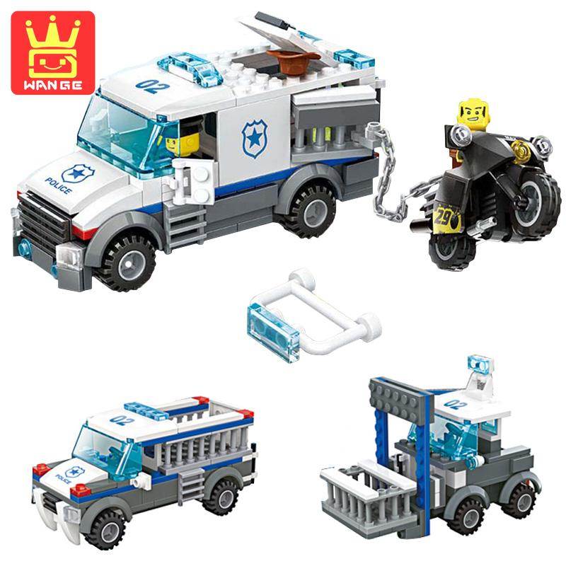 WANGE Prisoners Car City Police 3 In 1 214Pcs Teaching Building Blocks Model Bricks Toys Gifts For Children House Dolls models toys for children boy gifts city series police car motorcycle building blocks policeman compatible with legoeinglys 26014
