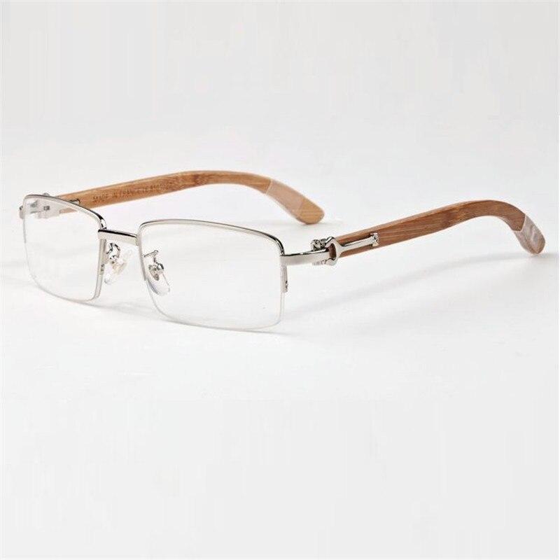 Imported From Abroad Vazrobe Eyeglasses Frame Men Wooden Glasses Man Gold Silver Luxury Brand Name Prescription Spectacles Half Rim Square High End Men's Glasses