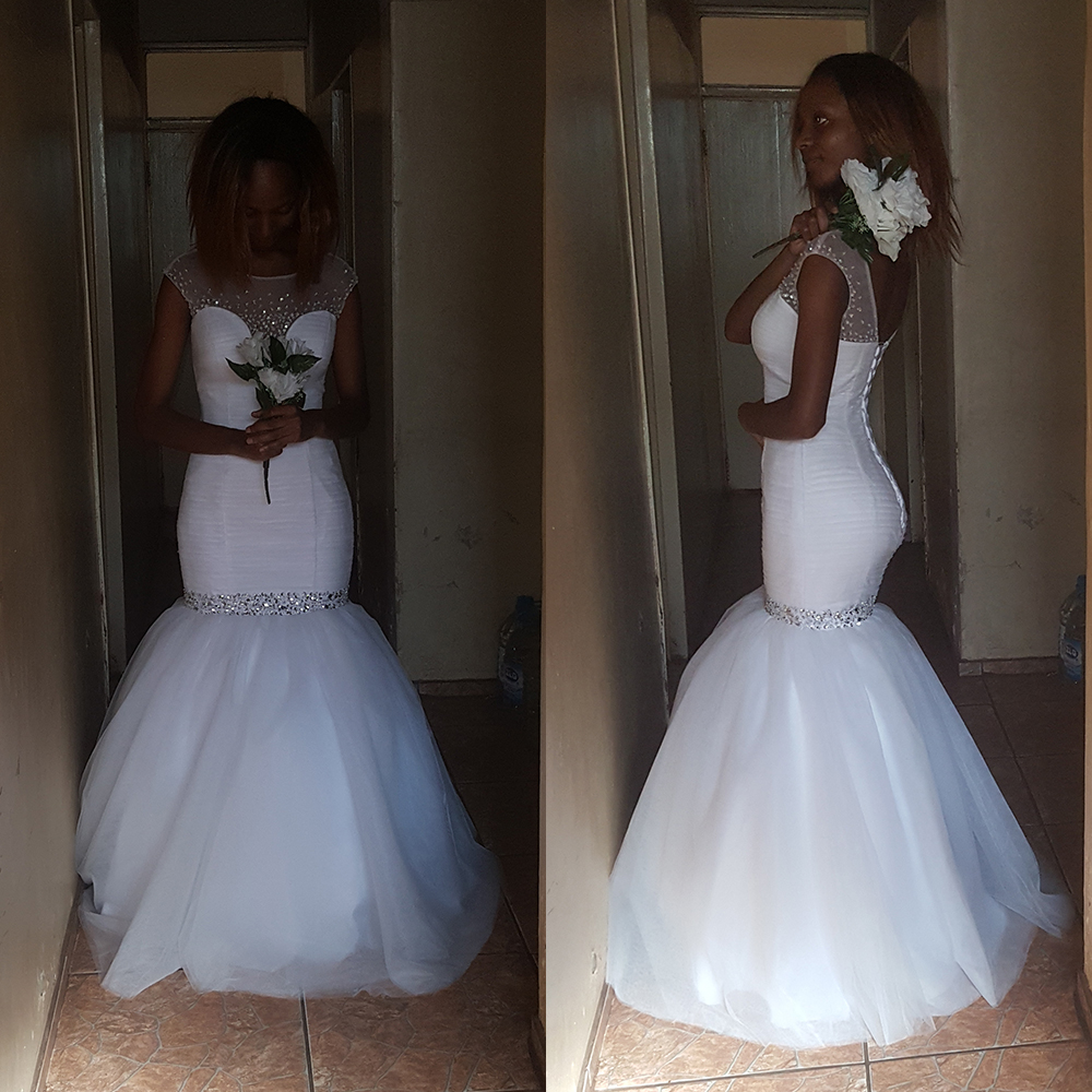 Fansmile 2019 New Short Sleeve Mermaid Wedding Dress Simple Gowns Customized Plus Size Vestido De Noiva Wedding Gown FSM 497M-in Wedding Dresses from Weddings & Events    1