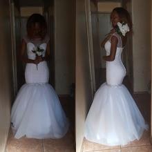 Fansmile 2020 Nieuwe Korte Mouw Mermaid Wedding Dress Simple Toga Aangepaste Plus Size Vestido De Noiva Trouwjurk FSM 497M