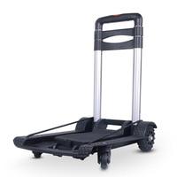 4 Wheels Folding Small Trailer Multifunction Portable Trolley Home Light Aluminum Alloy Pull Bar Cart Mini