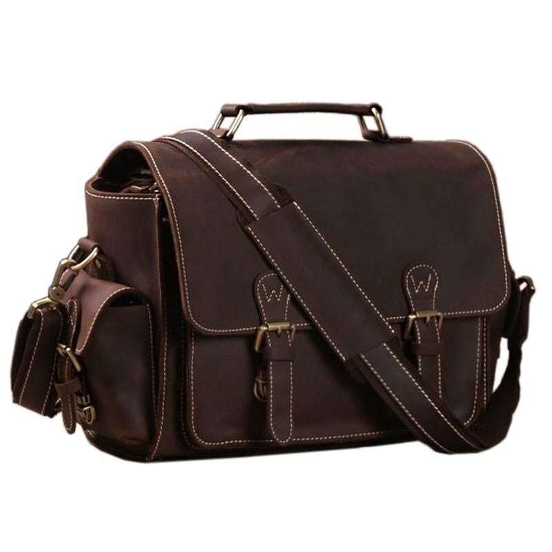 100% QualitäT Echtes Leder Männer Aktentasche Messenger Bags Crazy Horse Leder Kamera Tasche Business-tasche Männliche Leder Aktentasche Laptop Taschen Tote