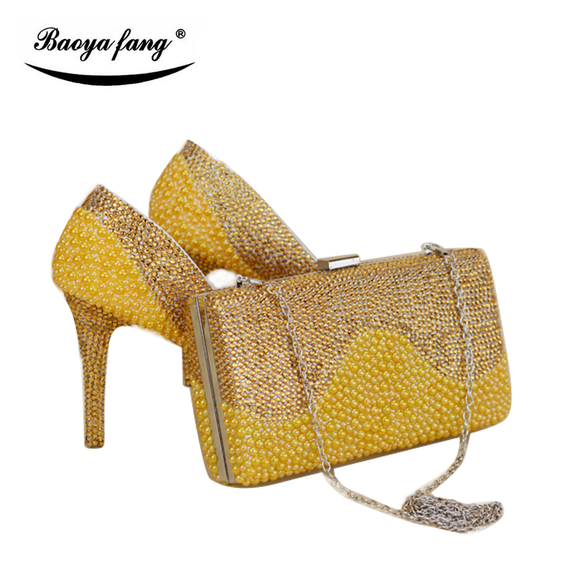gold pearl Women wedding shoes with matching bags female shoes New arrival Party dress shoes Bride