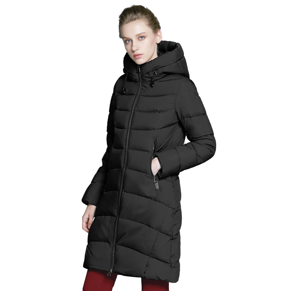 ICEbear 2018 new high quality winter coat women hooded windproof jacket long women's clothing high-grade metal zipper GWD18101D