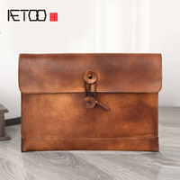AETOO Vegetable Tannage Male Bag Leather Envelope Bag Head Layer Leather Handle Bag Retro Bag Package