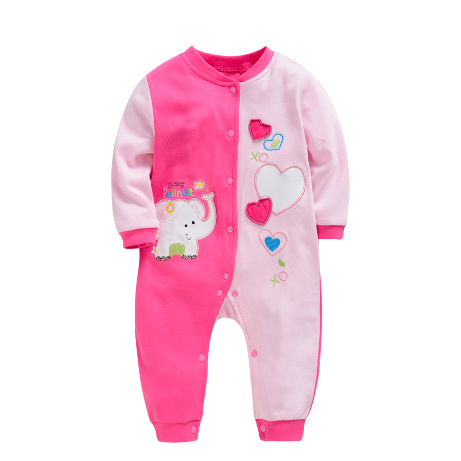 Baby Rompers Cartoon Elephant Clothing Set Spring Girls 100% Cotton Clothes Pajamas Infant Overalls Newborn Jumpsuit sleepwear mother nest 3sets lot wholesale autumn toddle girl long sleeve baby clothing one piece boys baby pajamas infant clothes rompers