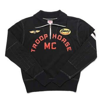 TroopHorse MC Embroidery Sweatshirt Vintage Short Pullover Motorcycle Jacket Top Cafe Racer Racing Jersey For Men - DISCOUNT ITEM  41 OFF Men\'s Clothing