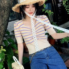 2019 Summer T Shirt Women Short Sleeves V Neck Striped Knitted Tee Shirt Famale Buttons Fashion Solid Crop Top Women Tshirt недорого
