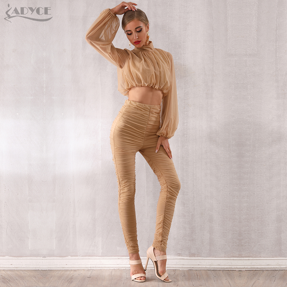Adyce 2019 New Winter Women Club Sets Vestidos Khaki Tops Pant 2 Two Pieces Set Long
