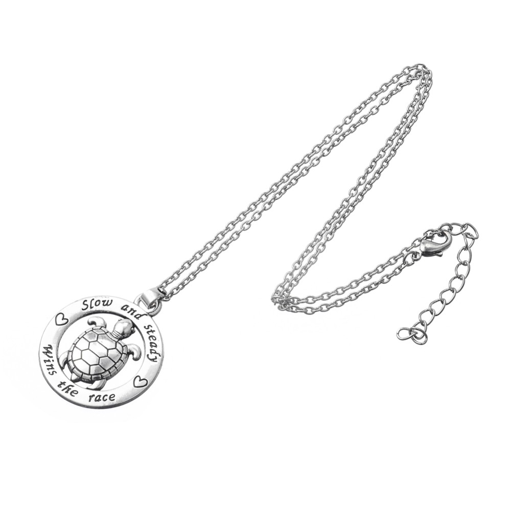 My Shape Turtle Jewelry Slow And Steady Wins The Race Tortoise Circle Affirmation Pendant Inspirational Word Necklace Animal 2