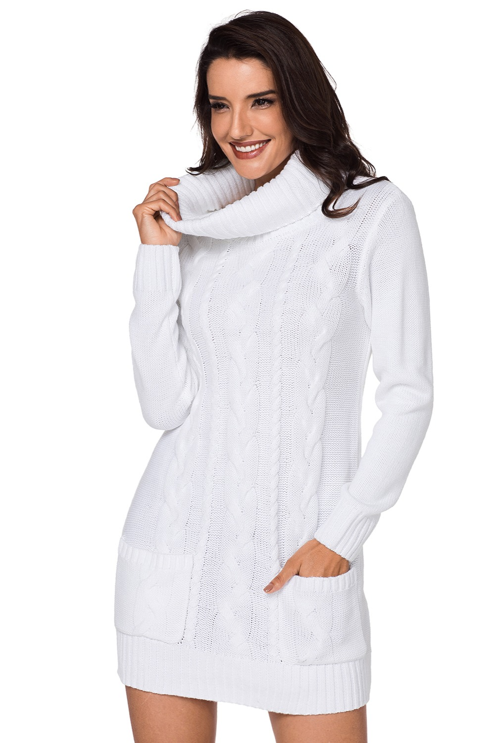 White-Cowl-Neck-Cable-Knit-Sweater-Dress-LC27836-1-4