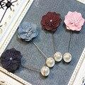 Коричневый бархат перл брошь pin эмуляции цветок Шарф Платок женский пряжка