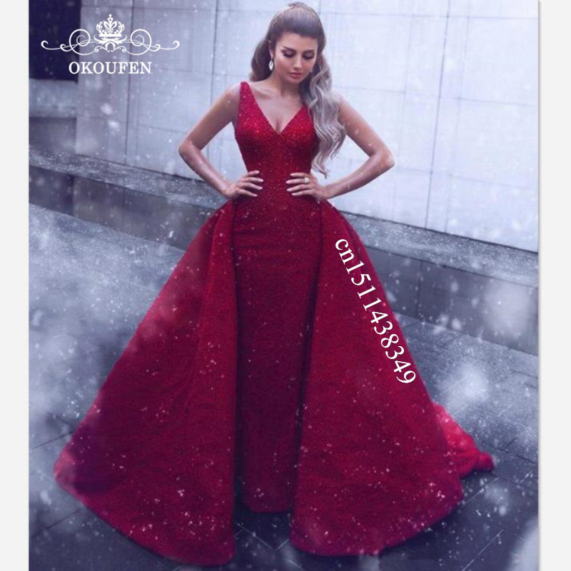 Gorgeous Overskirts A Line   Prom     Dresses   For Women 2019 Long Chapel Train Deep V Neck Backless Evening   Dress   Pageant Formal Gown