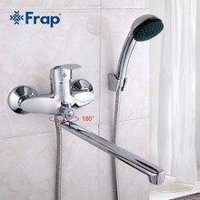 FRAPชุด 30 ซม.ความยาวOutletหมุนทองเหลืองห้องน้ำก๊อกน้ำสี่Handleตัวเลือกก๊อกน้ำอ่างอาบน้ำBathน้ำผสม
