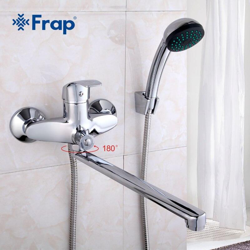 FRAP Un ensemble 30 cm longueur sortie tourné corps En Laiton Salle De Bains robinet de douche Quatre poignée options robinet de baignoire de bain mélangeur d'eau