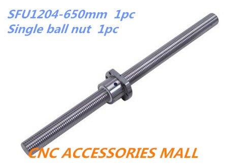 1pc 12mm Ball screw SFU1204 length 650mm plus 1pc Single Ballnut for cnc parts замок kellys jolly 12mm x 650mm blue nke19272