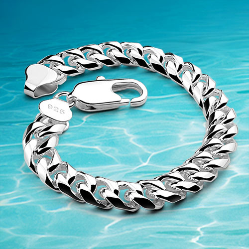 Men Fashion Bracelet Cuban Silver New 925 Sterling Jewelry Vintage Link Chain In Bangles From